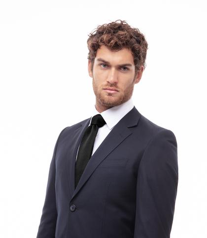 Cravatta nera rigata in cotone con fondo dritto, Accessori, 11I9T0024TSNEROUNI, 002