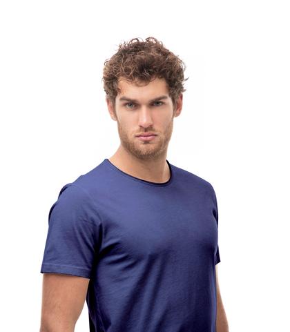 T-shirt girocollo blu in cotone, Abbigliamento, 13T6T3915TSBLUEL, 002