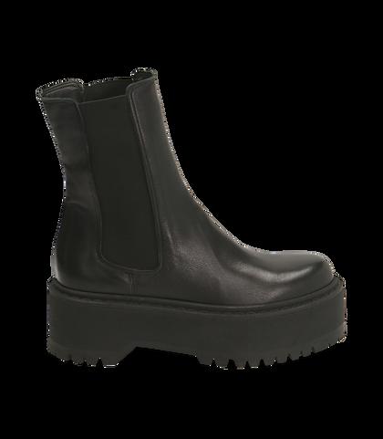 Chelsea boots platform neri in pelle di vitello , SALDI DONNA, 1689T8002VINERO035, 001