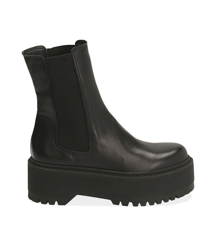 Chelsea boots platform neri in pelle di vitello SALDI DONNA, 1689T8002VINERO040