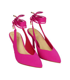 Slingback lace-up fucsia in lycra, tacco 8,5 cm , Valerio 1966, 1721T6283LYFUCS035, 002 preview