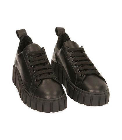 Sneakers nere in pelle, zeppa 5 cm, Valerio 1966, 18L6T2005PENERO035, 002