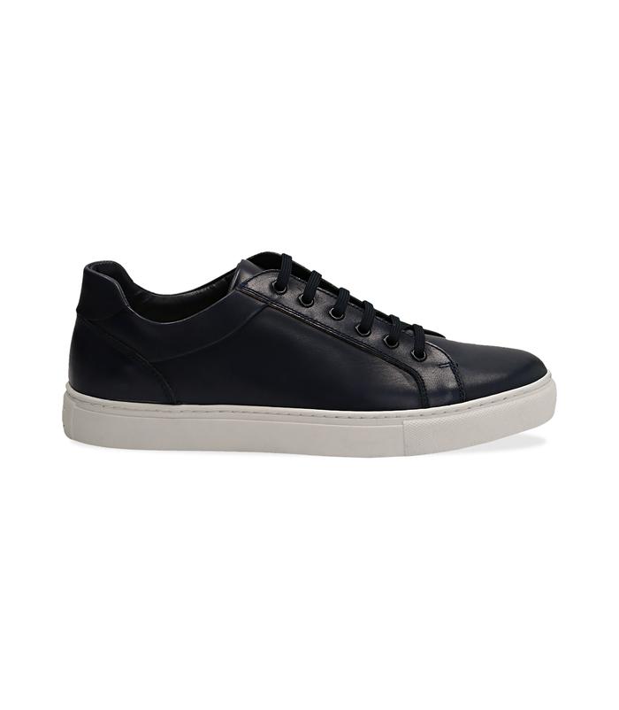 Sneakers blu in pelle con suola biancaScarpe, 1195T5735PEBLUE040