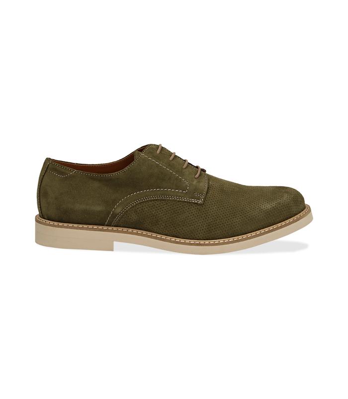 Stringate verde in camoscioScarpe, 1198T5610CMVERD040