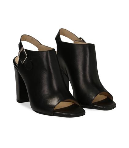 Sandali neri in pelle, DONNA, 11D6T0948VINERO036, 002