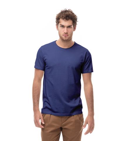 T-shirt girocollo blu in cotone, Abbigliamento, 13T6T3915TSBLUEL, 001