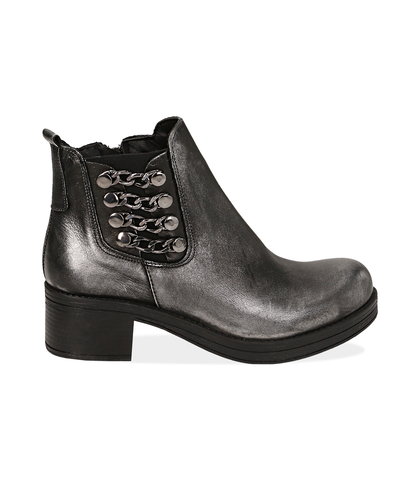 Chelsea boots con catene argento in laminato , Scarpe, 1007S0403LMARGE035, 001