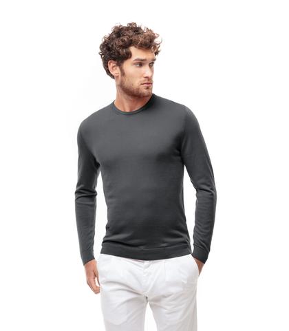 Maglioncino girocollo grigio in cotone, Abbigliamento, 13T4T2350TSGRIG48, 001