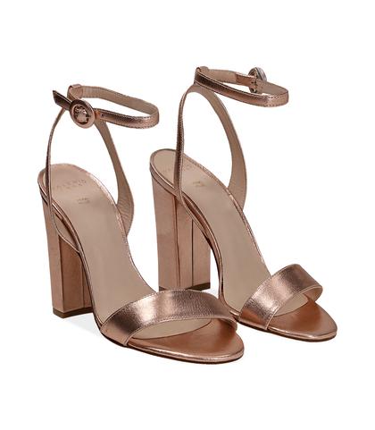 Sandali oro rosa con cinturino alla caviglia, Valerio 1966, 13D6T0703LMRAOR035, 002