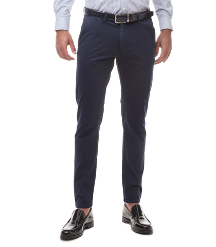Pantaloni Chino blu in cotone, SUMMER PRICE, 11G5T2072TSBLUE44, 001