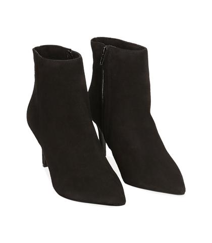 Ankle boots neri in camoscio , Valerio 1966, 12D6T8502CMNERO035, 002