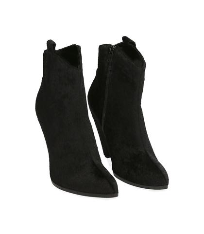 Ankle boots neri in cavallino, Scarpe, 12A4T3955CVNERO035, 002