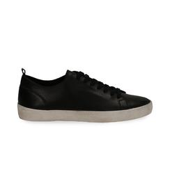 Sneakers nere in pelle con suola bianca, UOMO, 1377T8082PENERO040, 001 preview