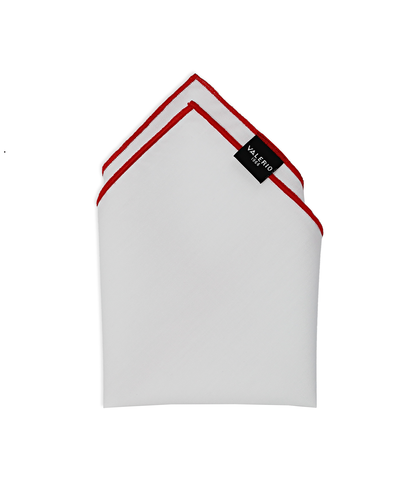 Pochette bianca in cotone, con bordo rosso, Accessori, 11I9T0014TSBIROUNI, 001