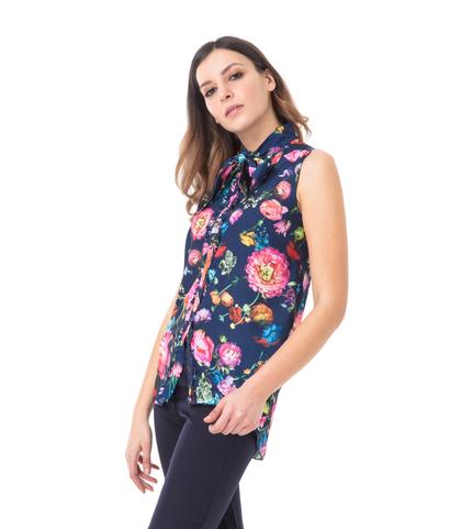 Camicia blu fiorata, Abbigliamento, 13T8T1236TFBLUEL, 002