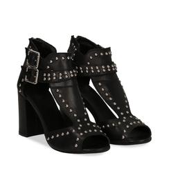 Sandali neri in pelle con borchie e doppia fibbia, SALDI, 1170T0006VINERO036, 002 preview