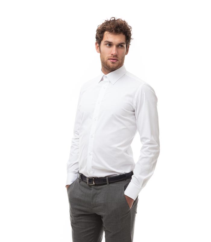 Camicia bianca in cotone, tessuto Montreal Oxford