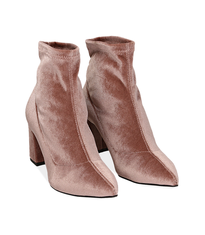 Ankle boots nude in velluto , Valerio 1966, 1002T4158VLNUDE035, 002