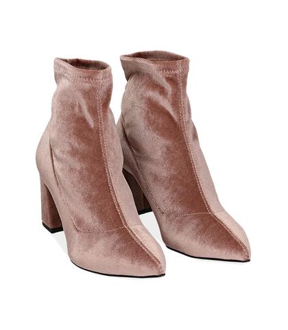 Ankle boots nude in velluto , Scarpe, 1002T4158VLNUDE035, 002