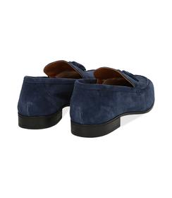 Mocassini blu in camoscio, con nappina, UOMO, 1198T2337CMBLUE040, 004 preview