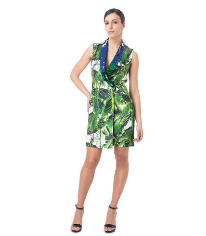 Abito doppiopetto verde, stampa jungle, Abbigliamento, 13T8T0024TSVEFIL, 001