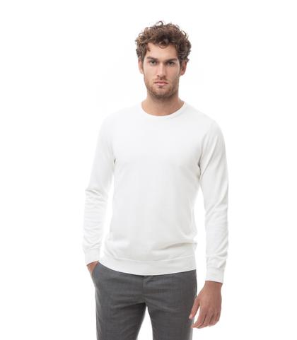 Maglia girocollo bianca in cotone, Abbigliamento, 13T4T2000TSBIAN48, 001