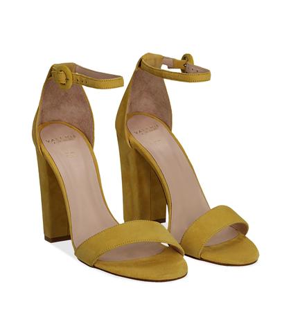 Sandali gialli in camoscio, tacco a colonna 10,50 cm, Scarpe, 13D6T0707CMGIAL036, 002