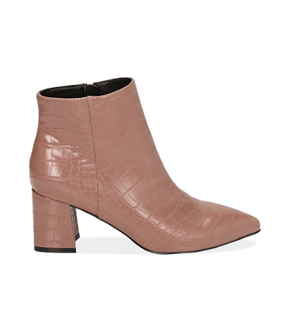 Ankle boots nude stampa cocco, tacco 6,50 cm , Valerio 1966, 1621T3911CCNUDE035, 001