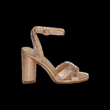 Sandali oro rosa con tacco cilindrico, Scarpe, 1321T3876LMRAOR036, 001