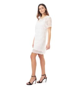 Abito bianco in pizzo con manica corta, Abbigliamento, 11F8T7076TSBIAN40, 001 preview