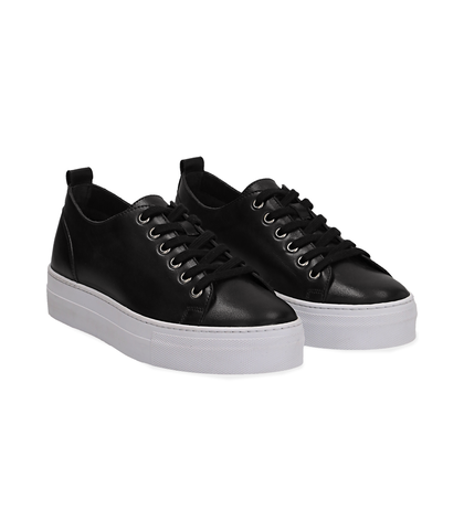 Sneakers nere in pelle, Valerio 1966, 1577T0412PENERO035, 002