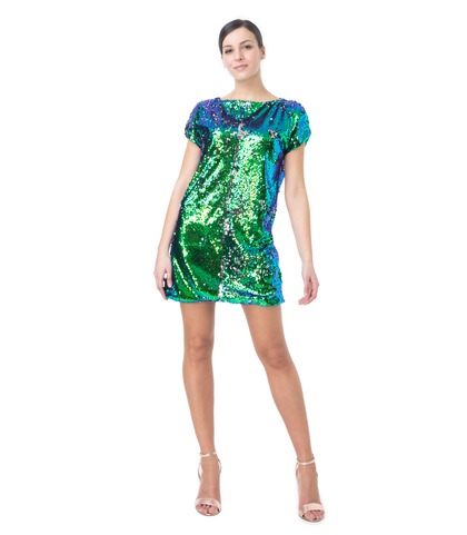 Abito corto verde in paillettes, Abbigliamento, 13T8T0091PLVERDL, 001