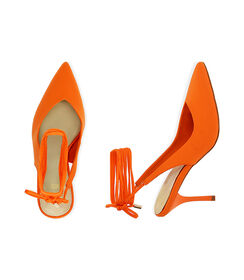 Slingback lace-up arancio in lycra, tacco 8,5 cm , Valerio 1966, 1721T6283LYARAN036, 003 preview