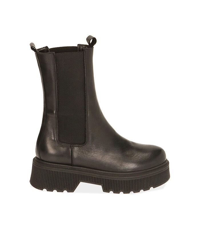 Chelsea boots neri in pelle, tacco 5,5 cm, Valerio 1966, 18L6T4029PENERO035