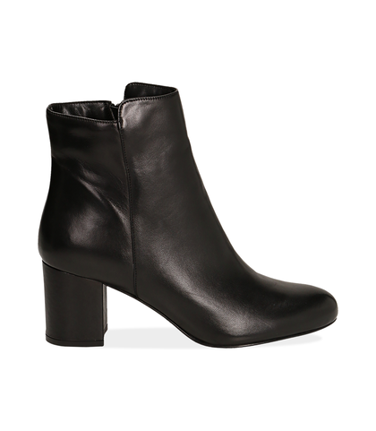 Ankle boots neri in pelle di vitello, 14D6T1101VINERO035, 001