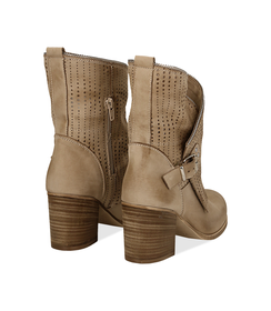 Ankle boots beige in nabuk con gambale traforato, tacco 7 cm, Valerio 1966, 1156T0308NBBEIG036, 003 preview