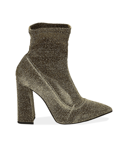 Ankle boots oro in lamè, Scarpe, 1002T7988LMOROG035, 001