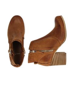 Ankle boots cuoio in nabuk con punta arrotondata, tacco 7 cm, Valerio 1966, 1156T0289NBCUOI036, 003 preview