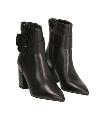 Ankle boots con fibbia neri in pelle di vitello , Valerio 1966, 14D6T0602VINERO035, 002
