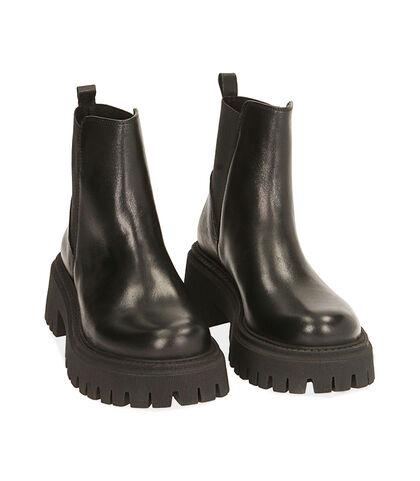 Ankle boots neri in pelle, tacco 5,5 cm , Valerio 1966, 1872T4422PENERO035, 002