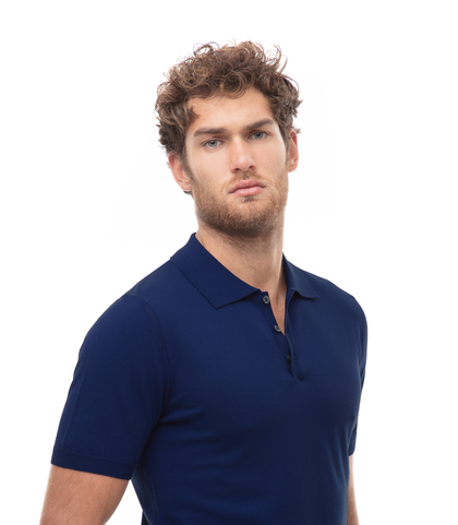 Polo basic blu in cotone, Abbigliamento, 13T4T2003TSBLUE48, 002