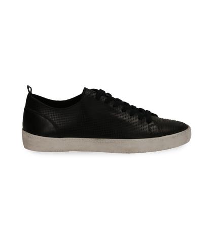 Sneakers nere in pelle con suola bianca, Scarpe, 1377T8082PENERO040, 001