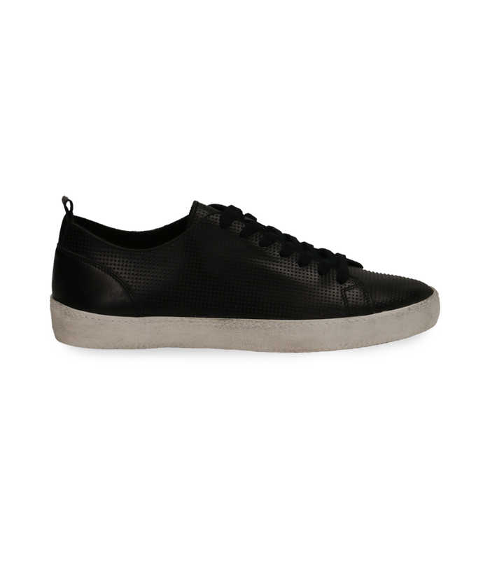 Sneakers nere in pelle con suola biancaScarpe, 1377T8082PENERO040