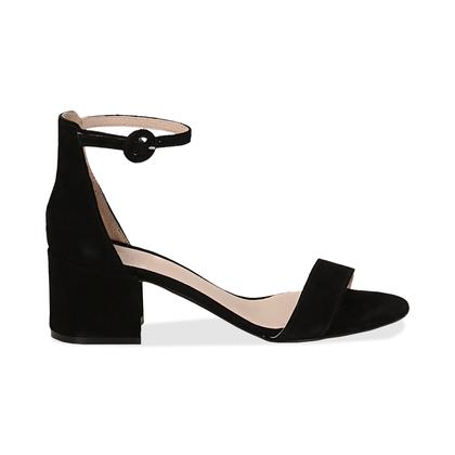 Sandali neri in camoscio, tacco chunky 5,50 cm, DONNA, 13D6T0807CMNERO036, 001