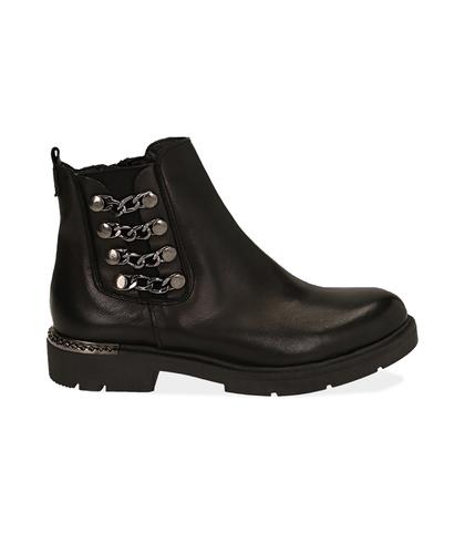Ankle boots con catene neri in pelle, Scarpe, 1007T0006PENERO035, 001