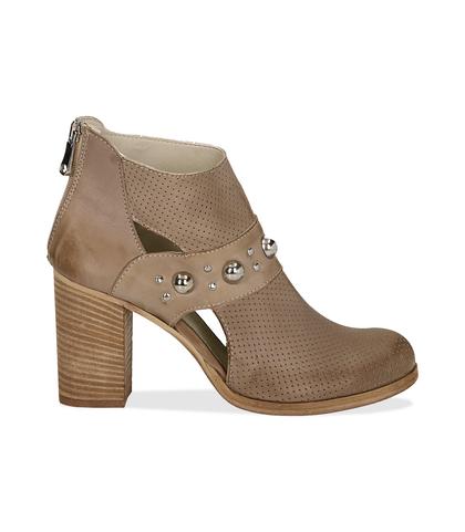 Ankle boots taupe in pelle di vitello con boules sul cinturino, tacco 8 cm, Valerio 1966, 1189T0280VITAUP036, 001