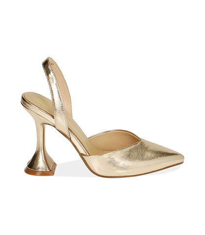 Slingback oro laminato, tacco 10 cm , Valerio 1966, 1721T0572LMOROG035, 001