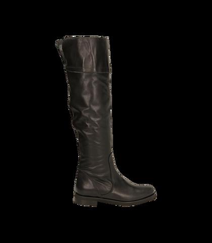 Stivali overknee neri in pelle di vitello , 1602T0300VINERO035, 001