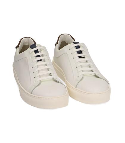 Sneakers bianco/marroni in pelle, UOMO, 1598T6427PEBIMA039, 002