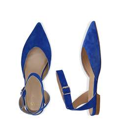 Slingback flat blu cobalto in camoscio, SUMMER PRICE, 13D6T2205CMBLCO036, 003 preview